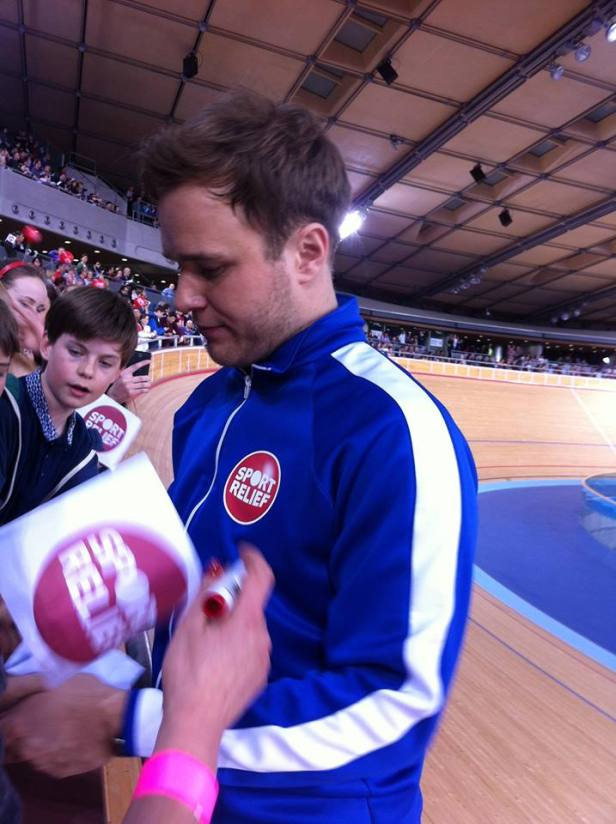 Olly Murrs - one of the celebrities competing for Sport Relief at the Velodrome. Photo taken by me! :)