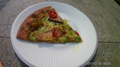 Spinach and tofu pizza